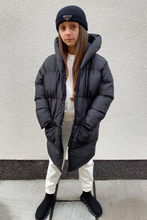 Load image into Gallery viewer, Mini Alexia Black Duvet Hooded Coat