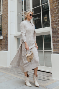 CARLA Beige Maxi Cardigan And Dress Knitted Set