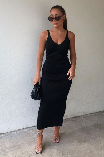 KYLIE Black Knitted V Neck Belted Midi Dress