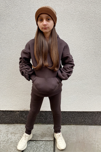 Mini JASMINE Brown Ruched Sleeve Hooded Jogger Set
