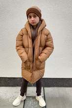 Load image into Gallery viewer, Mini ALEXIA Camel Duvet Hooded Coat