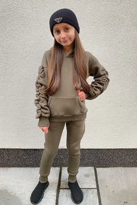 Mini JASMINE Khaki Ruched Sleeve Hooded Jogger Set