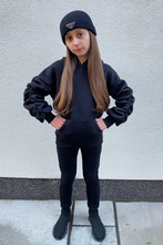 Load image into Gallery viewer, Mini JASMINE Black Ruched Sleeve Hooded Jogger Set
