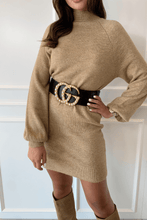 Load image into Gallery viewer, AMBER Camel Turtle Neck Balloon Sleeves Jumper Dress