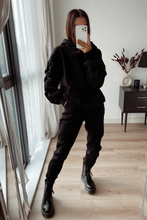 Load image into Gallery viewer, JASMINE Black Ruched Sleeve Hooded Jogger Set