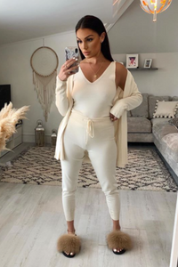 KIMMY Cream Knitted 3-piece Loungewear set