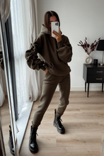 Load image into Gallery viewer, JASMINE Khaki Ruched Sleeve Hooded Jogger Set