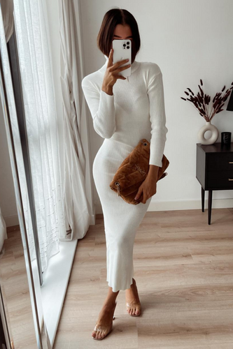 SHONI Cream Turtle Neck Long Sleeve Ribbed Maxi Dress