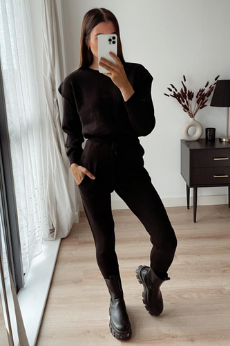 SAFFRON Black Shoulder Detail Knitted Loungewear Set