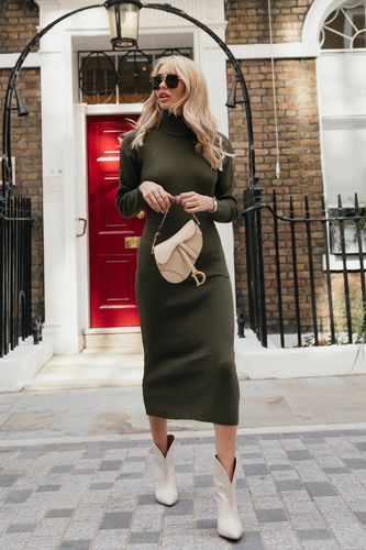 SHONI Khaki Turtle Neck Long Sleeve Ribbed Maxi Dress