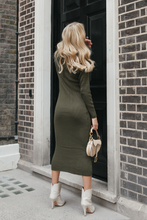 Load image into Gallery viewer, SHONI Khaki Turtle Neck Long Sleeve Ribbed Maxi Dress