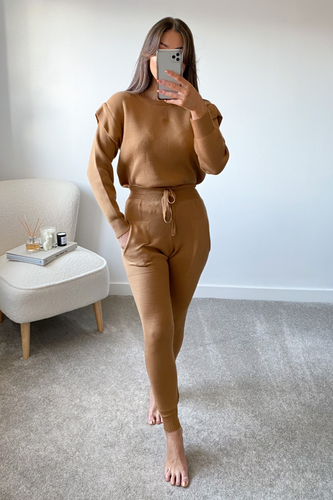 SAFFRON Camel Shoulder Detail Knitted Loungewear Set