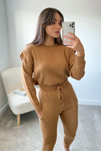 Load image into Gallery viewer, SAFFRON Camel Shoulder Detail Knitted Loungewear Set