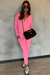 CELINE Pink Cream Stitch Knitted Zip Front Loungewear Set