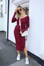 Load image into Gallery viewer, GINA Burgundy Long Sleeve V Neck Ribbed Dress