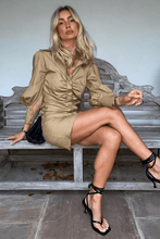 Load image into Gallery viewer, ISABEL Camel Ruched Front Shirt Dress