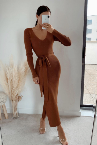 GINA Camel Long Sleeve V Neck Ribbed Dress