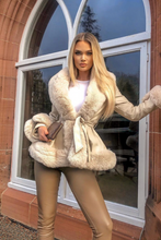 Load image into Gallery viewer, LONDYN Cream Faux Fur Cream Belted Short Coat