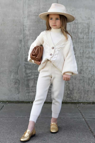 Mini CAPRI Cream Cable Knit Cardigan And Joggers Set