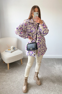 Dua Purple Leopard Print Oversized Button Up Jacket