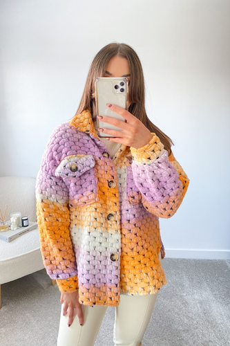 Sascha Peach & Lilac Knitted button up shacket