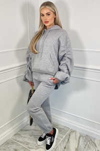 BRIDGETTE Grey Hooded Oversized Rouched Loungewear Set