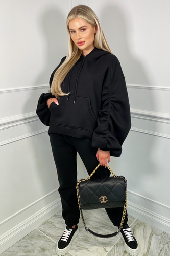 BRIDGETTE Black Hooded Oversized Rouched Loungewear Set
