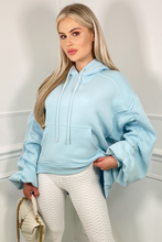 Load image into Gallery viewer, BRIDGETTE Powder Blue Hooded Oversized Rouched Loungewear Set