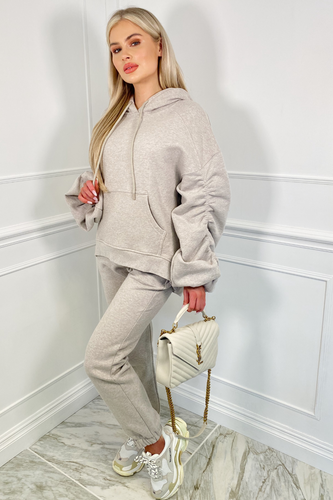 BRIDGETTE Beige Hooded Oversized Rouched Loungewear Set