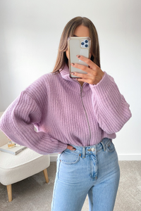 Ruby Violet knitted High Neck Zip Up Cardigan