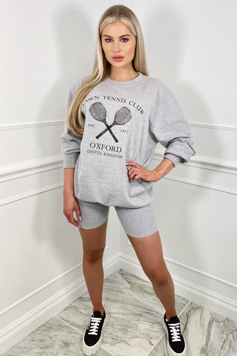 Oxford Tennis Club Grey Oversized Sweater