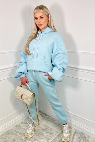 BRIDGETTE Powder Blue Hooded Oversized Rouched Loungewear Set