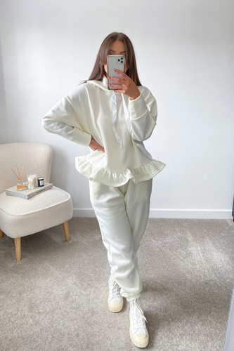 Dolce Cream Hooded Frill Loungewear set