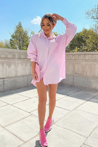 Laurie Pink & White Striped Oversized Shirt