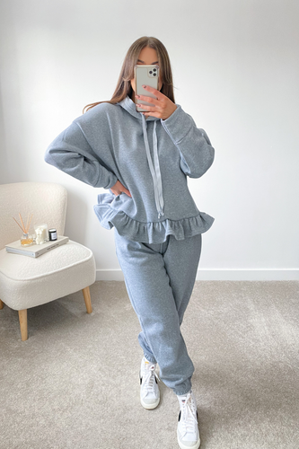 Dolce Grey Hooded Frill Loungewear set