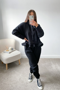 Dolce Black Hooded Frill Loungewear set