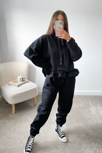Load image into Gallery viewer, Dolce Black Hooded Frill Loungewear set