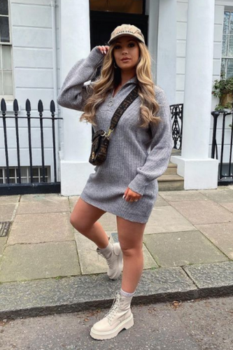 Elouise Grey Zip up High Neck Jumper Dress