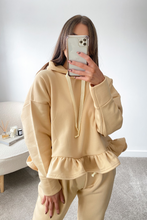 Load image into Gallery viewer, Dolce Beige Hooded Frill Loungewear set