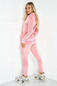 Gabriella Pink Velour Hooded Tracksuit Loungewear