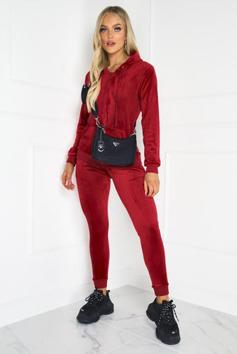 Gabriella Red Velour Hooded Tracksuit Loungewear