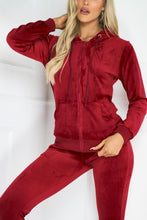 Load image into Gallery viewer, Gabriella Red Velour Hooded Tracksuit Loungewear