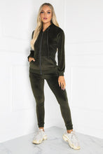 Load image into Gallery viewer, Gabriella Khaki Velour Hooded Tracksuit Loungewear