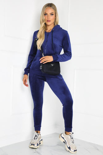 Gabriella Navy Velour Hooded Tracksuit Loungewear