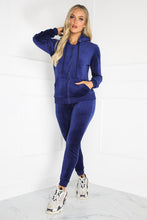 Load image into Gallery viewer, Gabriella Navy Velour Hooded Tracksuit Loungewear