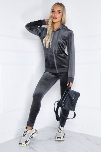 Gabriella Charcoal Velour Hooded Tracksuit Loungewear