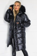 Load image into Gallery viewer, JULIANNA Black Faux Fur Long Puffer Coat
