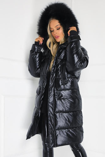 JULIANNA Black Faux Fur Long Puffer Coat