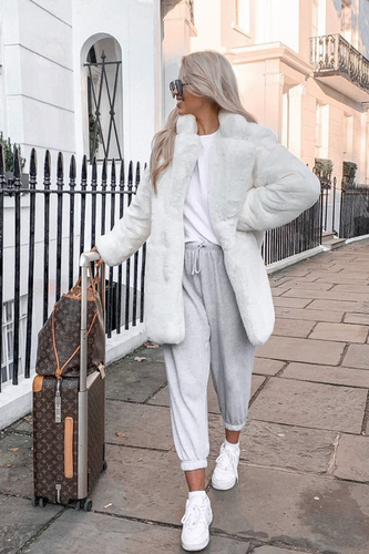 ELLE White Faux Fur Coat