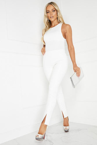 SARA White High Waisted PU Split Hem Leggings
